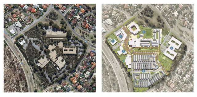 The Carine TAFE site as it was before clearing and the approved Carine Rise plans