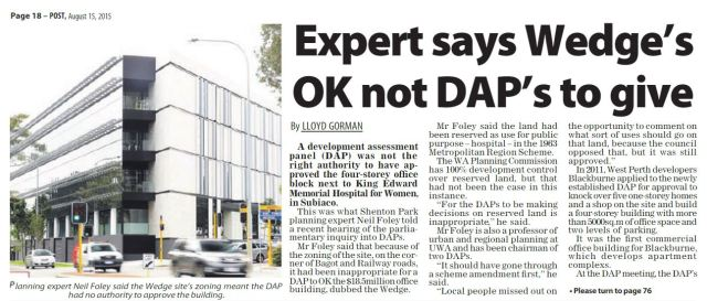 Expert says Wedge's OK not DAP's to give Post 150815 p18