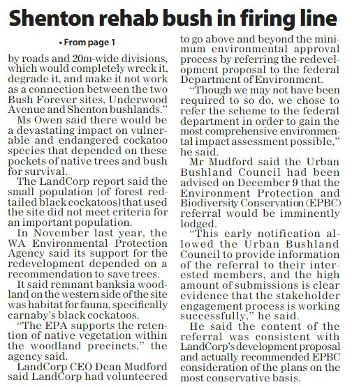Shenton Rehab bush in firing line p45